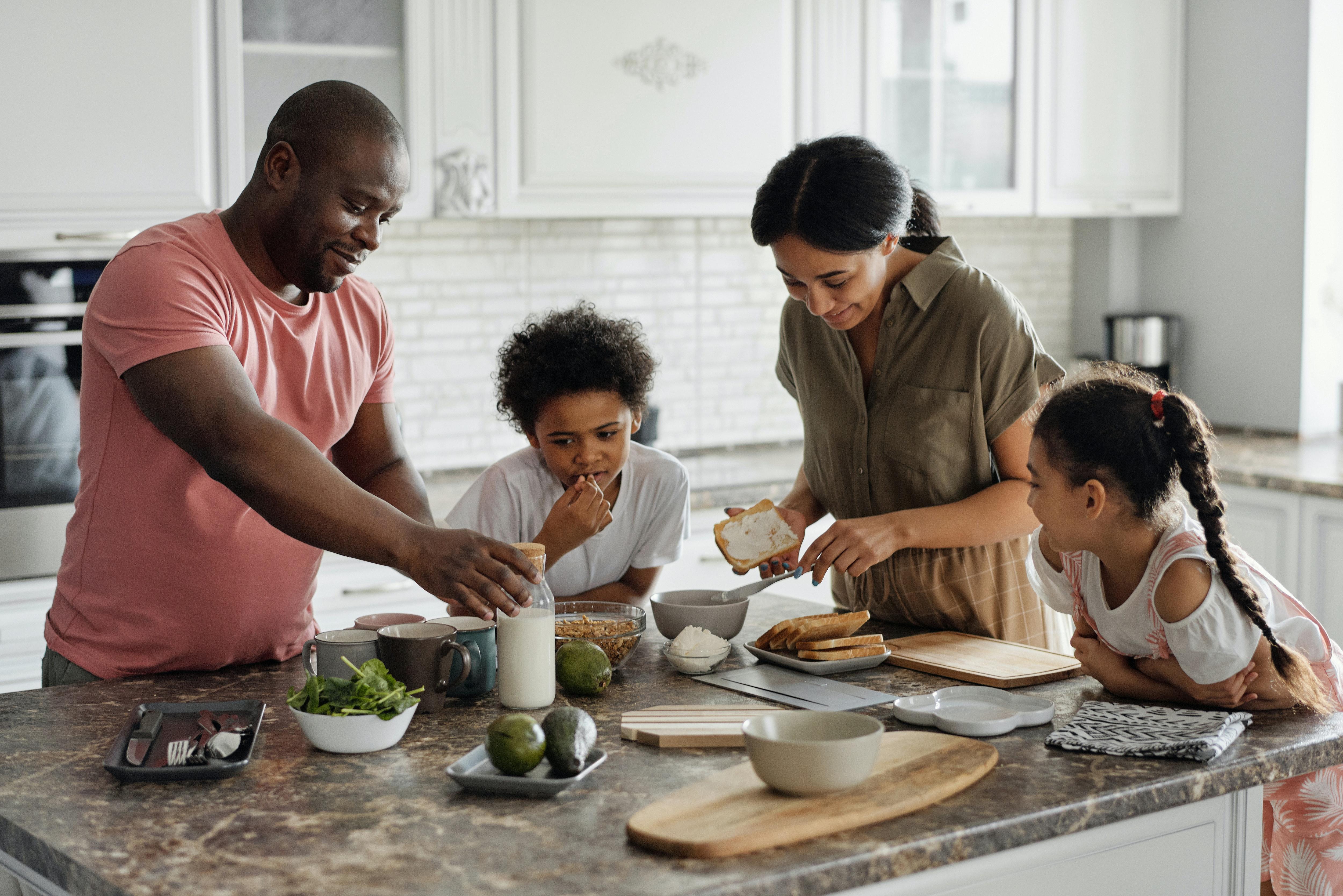 family preparing heart healthy food